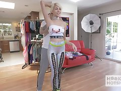Slutty blond teen Marie is trying on clothes before hardcore sex with one kinky dude
