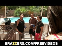 Brazzers - HOT horny teen is gangbanged by her dad's friends