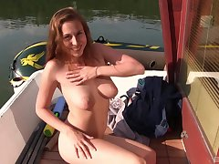 Solo model with natural tits Antonia Sainz masturbates outdoors