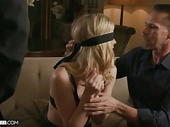 Blind folded blonde in sexy lingerie Mona Wales is fucked away from two marketable dudes