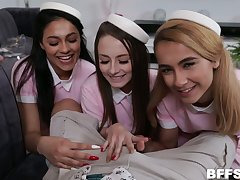 Roasting authority over fucks three pretty hot young stewardesses in erotic unvaried