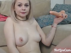 Nympho camgirl is possessed apart from the brush dildo