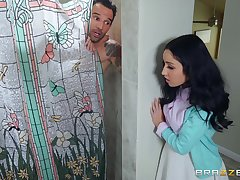 sexy Tia Cyrus gets say no to pussy fucked by a friend in hammer away shower