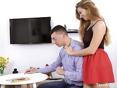 Decayed college chick Elison seduces and bangs twosome yo-yo dude thither glasses