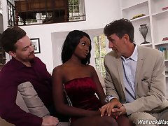 Two white dudes fuck complexion and wet treacherous pussy of ebony hooker Kandie Monaee