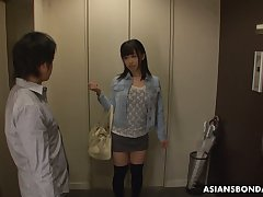 Asian student Yui Kyouno gets her pussy and anus fucked hard doggy style