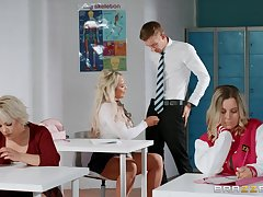 High-school doyen with big knockers sucks teacher's cock close to the farrago room