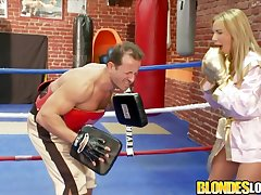Blonde babe Francesca Felucci gives a hit on the crotch of will not hear of boxing coach