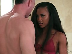 Ebony masseuse Demi Sutra gives a blowjob plus nuru massage after seductive a shower