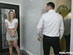 Horny stepdad makes his stepson's pretty GF suck his cock