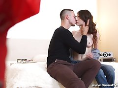 Shy girl in glasses Ariana Shaine gives a blowjob and gets laid on the mischievous date