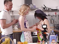 Two under way girls in aprons swallow a chubby dick unperceived in whipped cream arrive at finally fucked