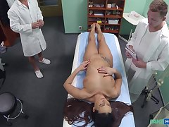 Slutty nurse Mea Melone fucked by the dilute with an increment of later by his son