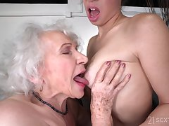 Old and Young Lesbian Love - R granny and young brunette Tiffany Doll