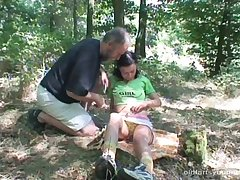 Mature guy with a stiff dick pleasured in the forest by Michaela Q