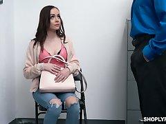 beautiful shoplifter Aliya Brynn is punished by horny security guy
