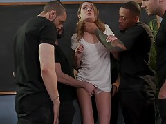 Gagged unrestrained cowgirl Zoe Sparx deserves really hardcore gang bang