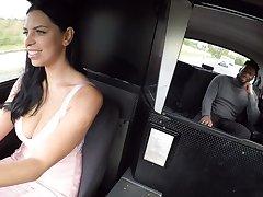 Moonlighting cabbie Kira Queen fucks a hung black passenger