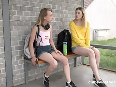 Superb Milena Devi and Candy Teen going down on each other on a picnic