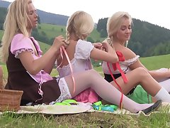 Karol Lilien and her babes enjoying a pussy attrition fest all over the nature
