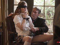 Pretty student in short skirt Devon Green is fucked by old professor