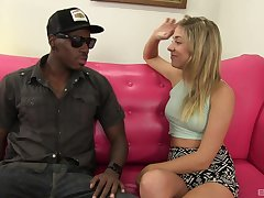 Handsome blonde amateur Lia Lor gets fucked by a large black dick