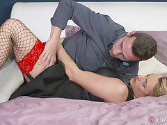 Charming Britanny Bardot in stockings and lingerie fucked unchanging