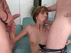 Deep throated and ass fucked in a serious cam threesome