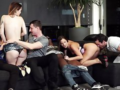Denuded amateur women swap partners in dirty interracial foursome