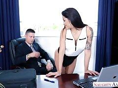 Latin transcriber Mia Martinez offers herself sitting on boss's table