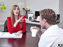 Bossy MILF with huge tits fucks her personal assistant within reach work