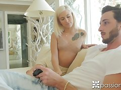 Slim babe in arms Kiara Cole strokes buttery body and plays yon boyfriend's big penis