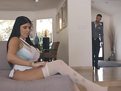 Uninhibited screwing in the morning in the matter of busty brunette wife Romi Rain