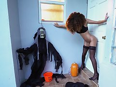 Skinny ebony pumps serious inches not susceptible Halloween